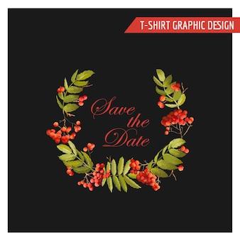 Design grafico floreale autunnale vintage