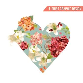 Design grafico vintage fiori autunnali per t-shirt, moda, stampe