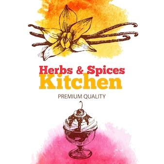 Sfondo vintage con schizzo disegnato a mano ed erbe e spezie da cucina ad acquerello. progettazione del menu