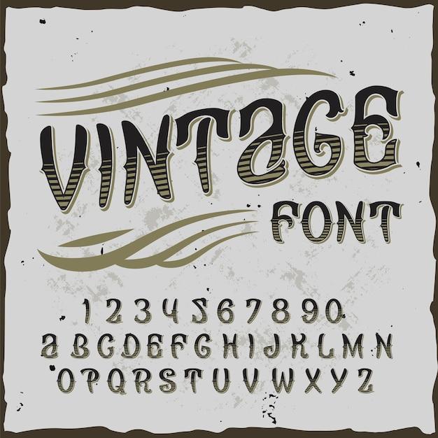 Sfondo vintage con carattere tipografico ornato ed etichetta con illustrazione di cifre e lettere
