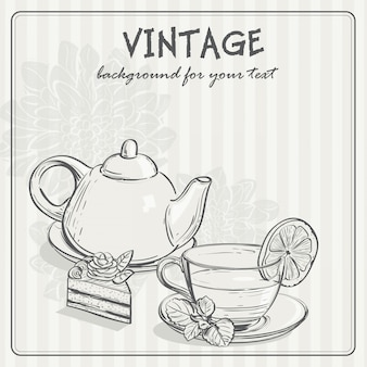 Sfondo vintage con tè e il toro