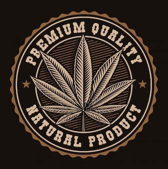 Distintivo vintage di una foglia di cannabis.