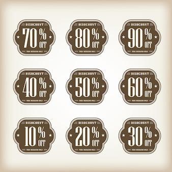 Collezione di tag etichetta etichetta sconto distintivo vintage