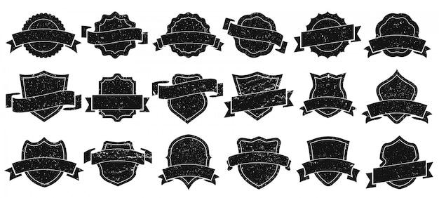 Cornici per badge vintage. distintivi di lerciume, retro struttura dell'emblema di logo e vecchio insieme dell'illustrazione della siluetta dell'emblema dell'emblema