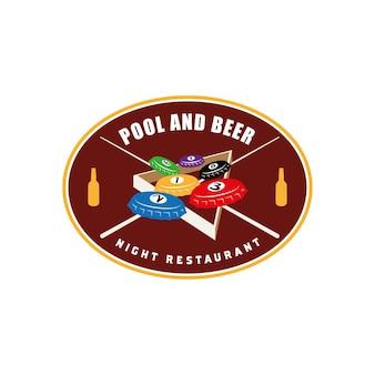 Logo vintage distintivo per birra e pub ristorante piscina con tappi di bottiglia e palla da biliardo