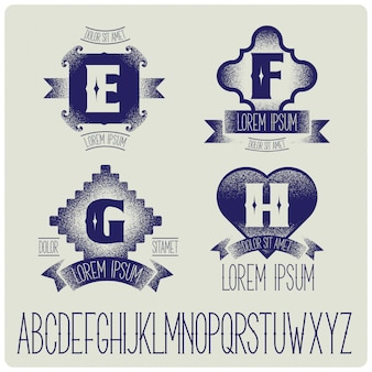 Modelli di badge vintage con set di alfabeto