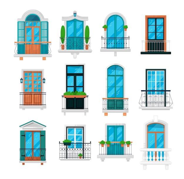 Illustrazione del balcone d'epoca