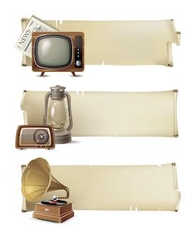 Set di banner vintage Vettore Premium