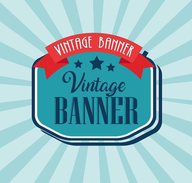 Banner vintage con cornice elegante e design a nastro