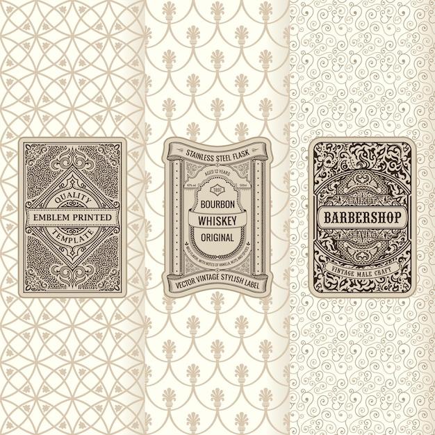 Set di striscioni vintage di etichette verticali design cornici per imballaggio
