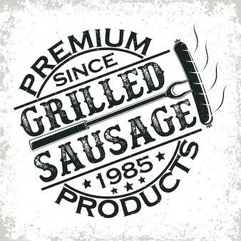 Logo ristorante barbecue vintage, timbro di stampa grange, emblema di tipografia bar grill creativo,