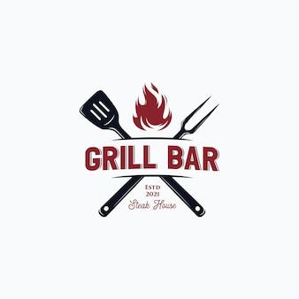 Logo di bistecca barbecue vintage alla griglia