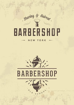 Distintivi ed emblemi del negozio di barbiere dell'annata