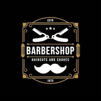 Logo del negozio di barbiere vintage retro emblemi