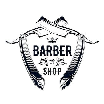 Emblema barbiere vintage - vecchio rasoio dritto, logo del negozio di barbiere