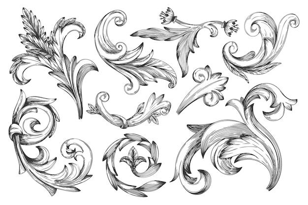 Elemento di bellezza cornice barocca vintage