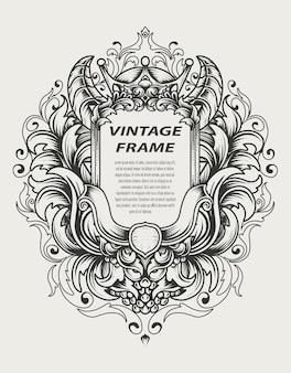Cornice barocca vintage con ornamento antico