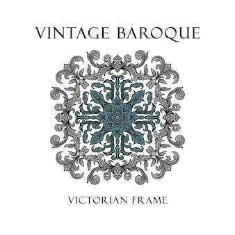 Vintage barocco vittoriano bordo cornice ornamento floreale foglia scorrimento inciso modello di fiori retrò