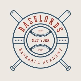 Logo vintage baseball, emblema, distintivo ed elementi di design. illustrazione vettoriale
