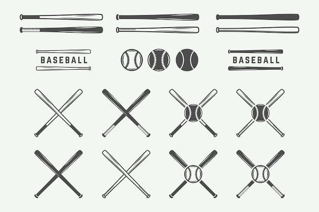 Loghi di baseball vintage emblemi distintivi ed elementi di design grafica monocromatica vector