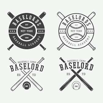 Loghi vintage da baseball, emblemi, distintivi ed elementi di design. illustrazione vettoriale