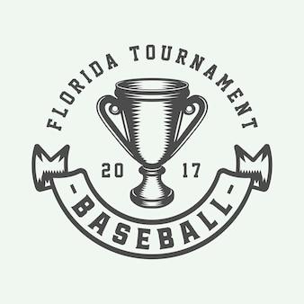 Logo sportivo vintage da baseball, emblema, distintivo, marchio, etichetta. arte grafica monocromatica. illustrazione. vettore.