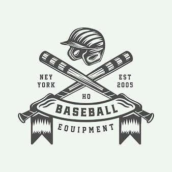 Logo sportivo vintage da baseball, emblema, distintivo, marchio, etichetta. illustrazione vettoriale di arte grafica monocromatica