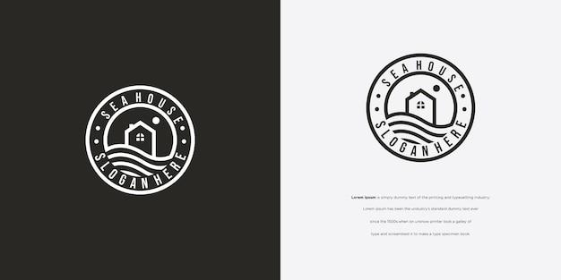 Icona di vettore di design logo casa sulla spiaggia vintage