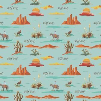 Vintage bellissimo modello di illustrazione del deserto senza soluzione di continuità. paesaggio con cactus, montagne, cowboy a cavallo, sfondo di stile disegnato a mano di vettore di tramonto