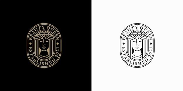 Design del logo vintage bellezza viso linea arte