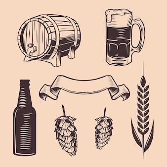 Illustrazione d'annata del barilotto di legno dell'oggetto della birra
