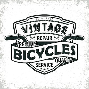 Design del logo del negozio di riparazione di biciclette vintage, timbro di stampa grange, emblema di tipografia creativa, Vettore Premium