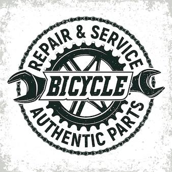 Design del logo del negozio di riparazione di biciclette d'epoca