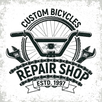 Logo del negozio di riparazione di biciclette vintage, timbro di stampa grange, emblema di tipografia creativa,