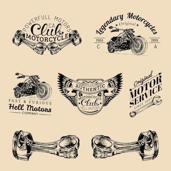 Segni vintage biker club. set di loghi di riparazione moto. etichette garage abbozzato a mano retrò. emblemi del negozio di chopper personalizzati.