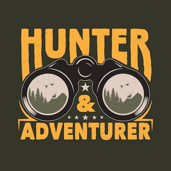 Distintivo dell'emblema di caccia e avventura binoculare vintage