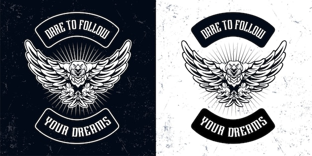 Illustrazione di logo mascotte volante aquila bianca nera vintage