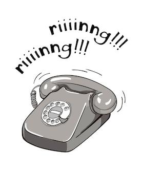 Illustrazione disegnata a mano del telefono in bianco e nero d'annata.
