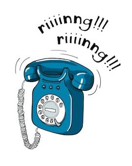 Illustrazione disegnata a mano del telefono blu d'annata. stile schizzo