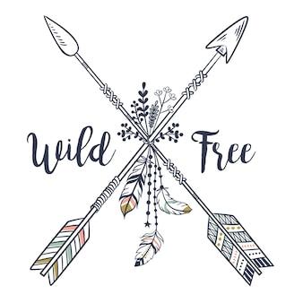 Stile boho vintage con frecce incrociate etniche tribali