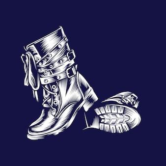 Stivali vintage illustrazione blu e bianco design concept