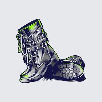 Concetto di design dell'illustrazione degli stivali vintage