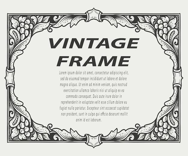 Bordo vintage cornice incisione ornamento stile monocromatico frame