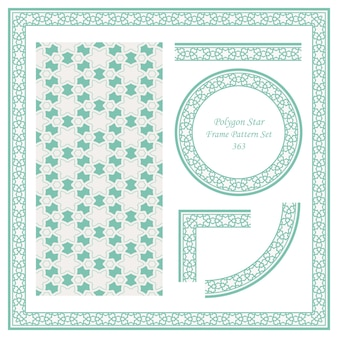 Modello di confine vintage di geometria trasversale stella poligono islamico