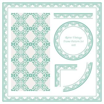 Vintage confine seamless pattern sfondo impostato controllare cruve croce cresta reale catena a spirale.
