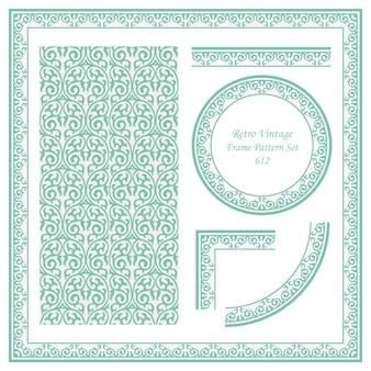 Vintage confine seamless pattern sfondo impostato curva a spirale a croce telaio vite cresta.