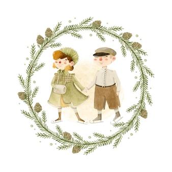Coppia di ragazzo e ragazza vintage che pattinano nel modello di carta dell'illustrazione dell'acquerello della corona di pino
