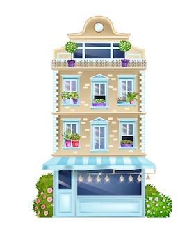 Facciata di edificio d'epoca, vecchia illustrazione di vista frontale della casa di parigi con finestre classiche, cespugli