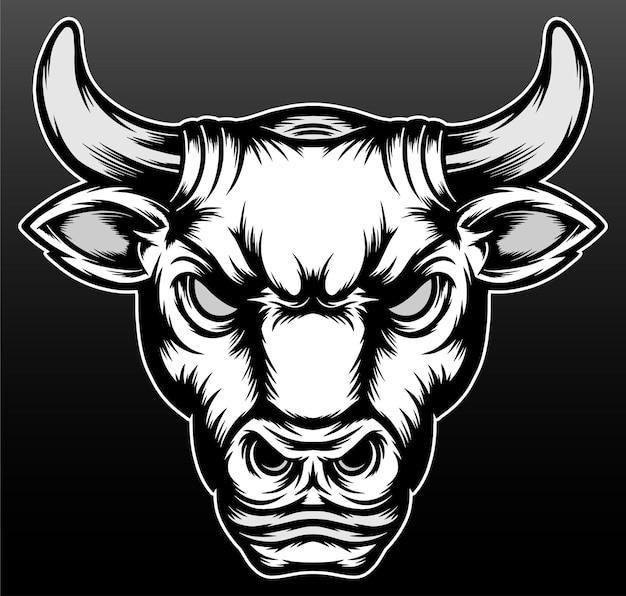 Disegno dell'illustrazione disegnato a mano della testa del toro dell'annata
