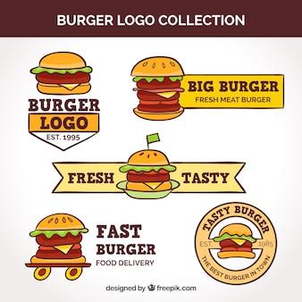 Collezione logo di hamburger vintage